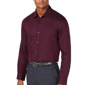 Alfani Vesper Twill Shirt Long Sleeve Port Red
